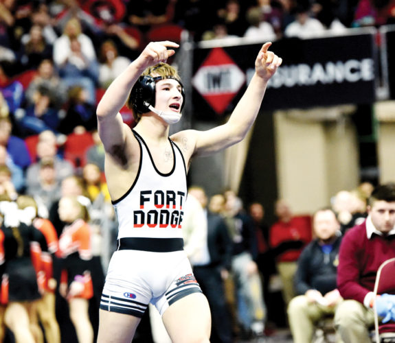 Messenger photo by Britt Kudla  Fort Dodge's Triston Lara reacts after winning a state title last season in Des Moines.