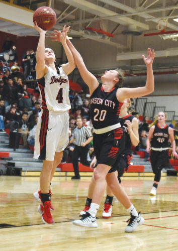 -Messenger photo by Britt Kudla Beth Murman of Fort Dodge shoots around Mason City's Jacqueline Rier on Tuesday