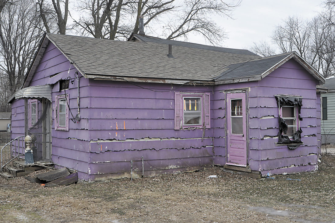 -Messenger photo by Bill Shea This vacant house at 615 Third Ave. N.W. which became known for its purple paint job will be torn down. The City Council on Monday hired Russ's Construction of Fort Dodge to demolish the building for $7,453.