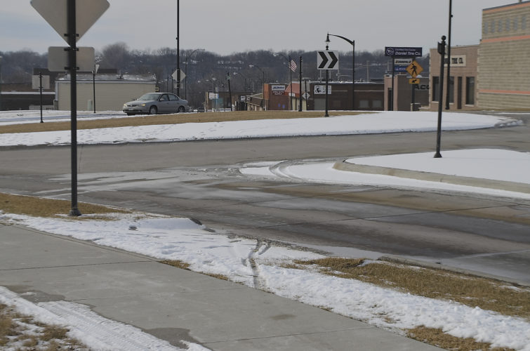 -Messenger photo by Chad Thompson  Clear roadways shown near First Avenue South in Fort Dodge on Sunday may have sheets of ice on them today with a potentially dangerous ice storm in the forecast.