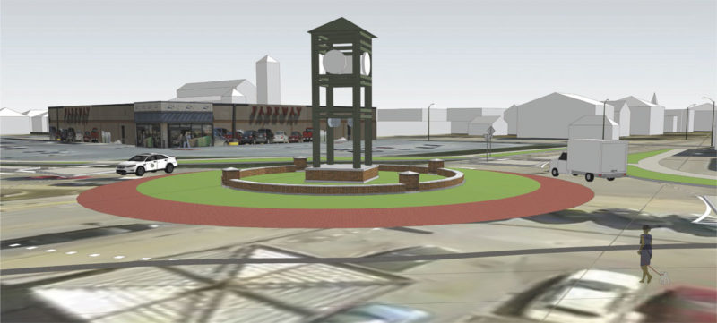 -Submitted graphic  This illustration shows the proposed 32-foot tall clock tower to be placed in the center of the roundabout intersection at First Avenue South and 12th Street. It is expected to be installed this summer.