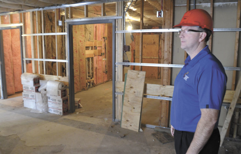 -Messenger photo by Chad Thompson  Eric Halverson, executive director at the Marian Home, stands in part of a resident wing that is under construction, recently. The completion date for the remainder of the renovations is anticipated for the summer of 2017.
