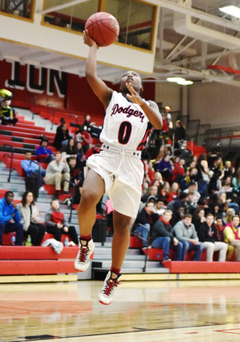 -Messenger photo by Britt Kudla Shariah Smith of Fort Dodge puts up a shot against Marshalltown on Friday