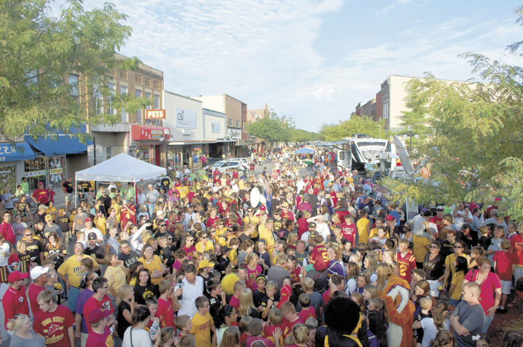 -Messenger file photo  Second Street in Webster City was once again flooded with people — this time in a sea of black and gold and cardinal and gold — for RVTV.