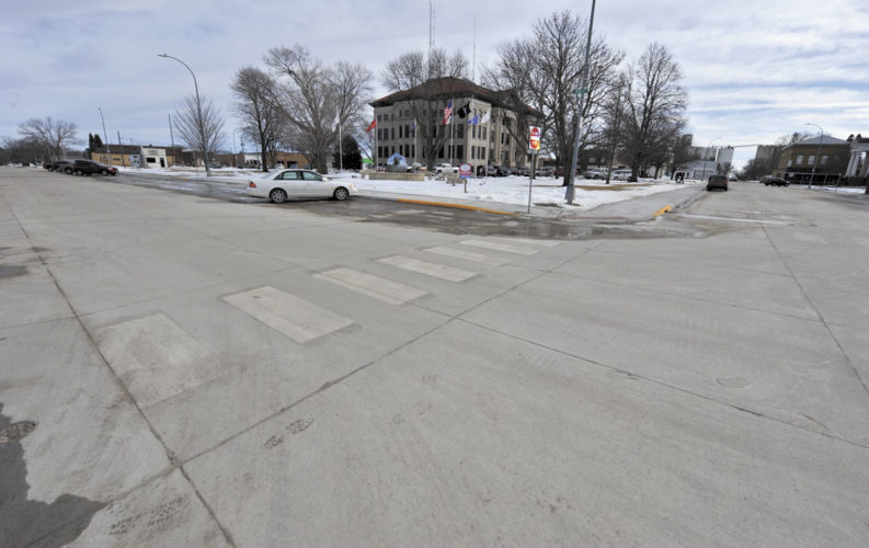 -Messenger photo by Hans Madsen  The downtown renovation project in Rockwell City was completed before the onset of winter. The four sides of the square were repaved and the underlying infrastructure replaced.