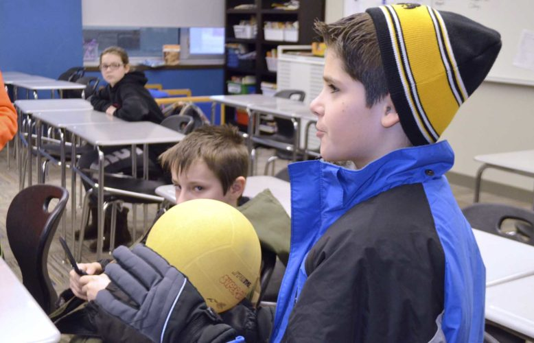 -Messenger photo by Chad Thompson  Michael Wagner, 10, a fifth grade student at Fort Dodge Middle School, responds to a question about a Quidditch Quaffle ball during the after school Quidditch club at the middle school Tuesday. It was the first meeting of the new club.