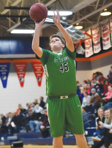 -Messenger photo by Britt Kudla Charlie Doyle of St. Edmond puts of a shot against Manson NW Webster on Thursday