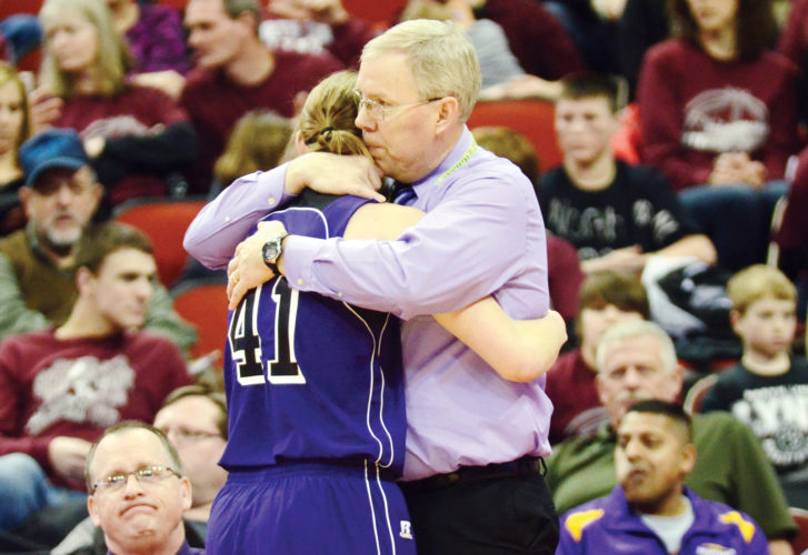 Messenger file photo by Britt Kudla  South Central Calhoun girls basketball coach Dave Birks hugs his daughter, Haley, at the 2015 state tournament in Des Moines.