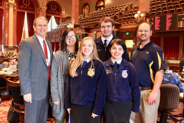 State Sen. Jerry Behn, R-Boone, recently met with members of the Webster City FFA in the state Capitol in Des Moines. Pictured from left are Behn, Miranda Nelson, Rachel Halbach, Serine Wynkoop, Isaac Patterson and Kurt Velduizen, the FFA advisor.