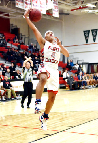 Messenger photo by Britt Kudla  Malcolm Clayton of Fort Dodge drives to the basket this week.