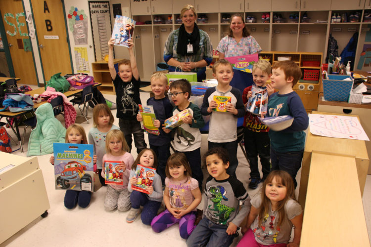 The St. Edmond TK Class partnered with Iowa Central Medical Assistant and Medical Lab Technician students of Kelley Meyer to collect items for the pediatric unit at UnityPoint — Trinity Regional Medical Center.  A large variety of items were collected and handed off to Renee Seeman, a representative of Unity Point.   Pictured in front from left are Elsie Sanck, Amber Dawson, Brooklynn Hodges, Ella Anderson, AvaMarie Kirby, Darius Hinds, Allison Crimmins. In the second row from left are Liam Reighard, William Gubbels, Davin Darling, Carson Kruthoff, Ryker Fiferlick, Rogan Cook Abie Seltz, St. Edmond TK instructor, Renee Seeman, representative from UnityPoint, are in back.