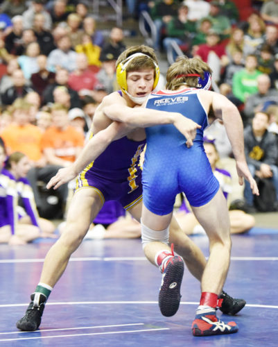 Messenger photo by Britt Kudla  Drake Doolittle of Webster City wrestles against Albia's Aden Reeves in the Class 2A championship at 113 pounds on Saturday in Des Moines.