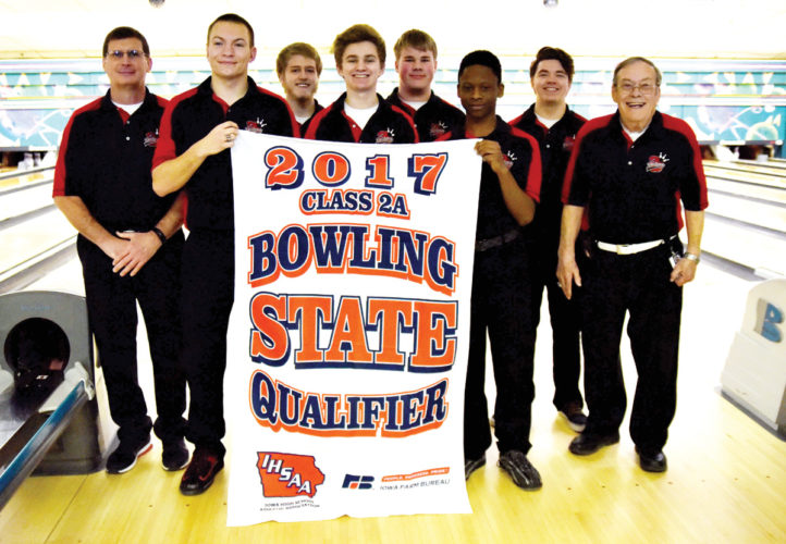 Messenger photo by Britt Kudla  Fort Dodge boys bowling team state qualifiers are, front row (left to right): Seth Hanson, Jared Jacobson, Tre Preston, Don Ervin. Back: Rod Riessen, Adam Moore, Ethan Graves, Tristan Earnest.