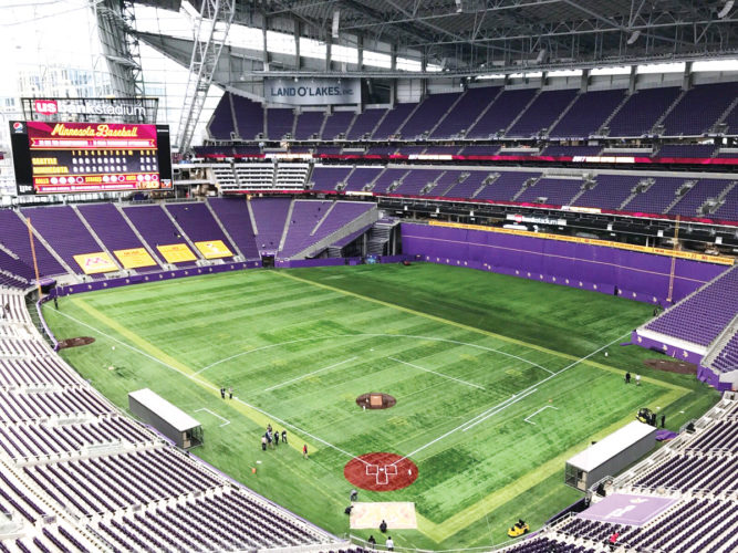 Photo courtesy of Minnesota Baseball  U.S. Bank Stadium in Minneapolis sits empty on Thursday in preparation for a weekend of college baseball games.