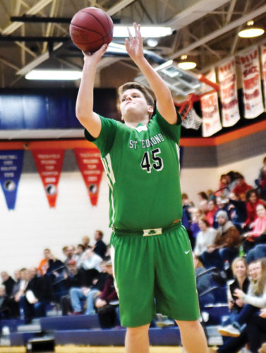 Messenger photo by Britt Kudla  Charlie Doyle of St. Edmond shoots at Manson Northwest Webster during the regular season.