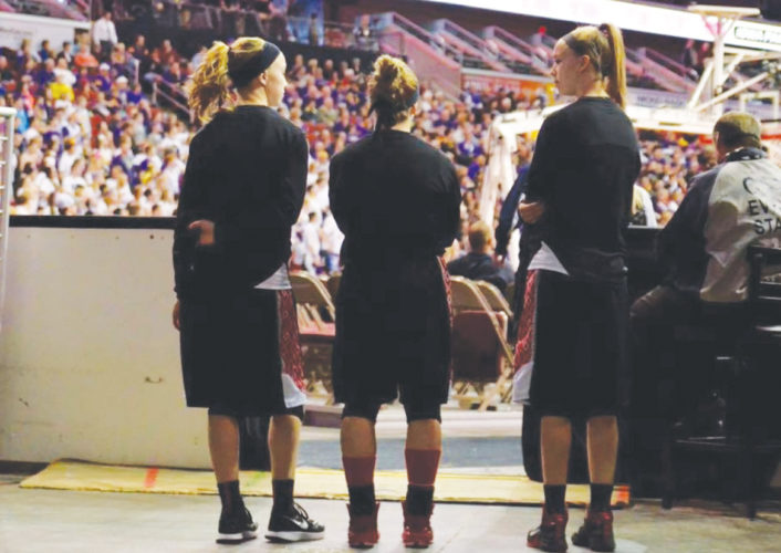 —Submitted photo  Pocahontas Area's, left to right, Faith Meyer, Elle Ruffridge and Grace Meyer look on before a state tournament game in Des Moines last year.