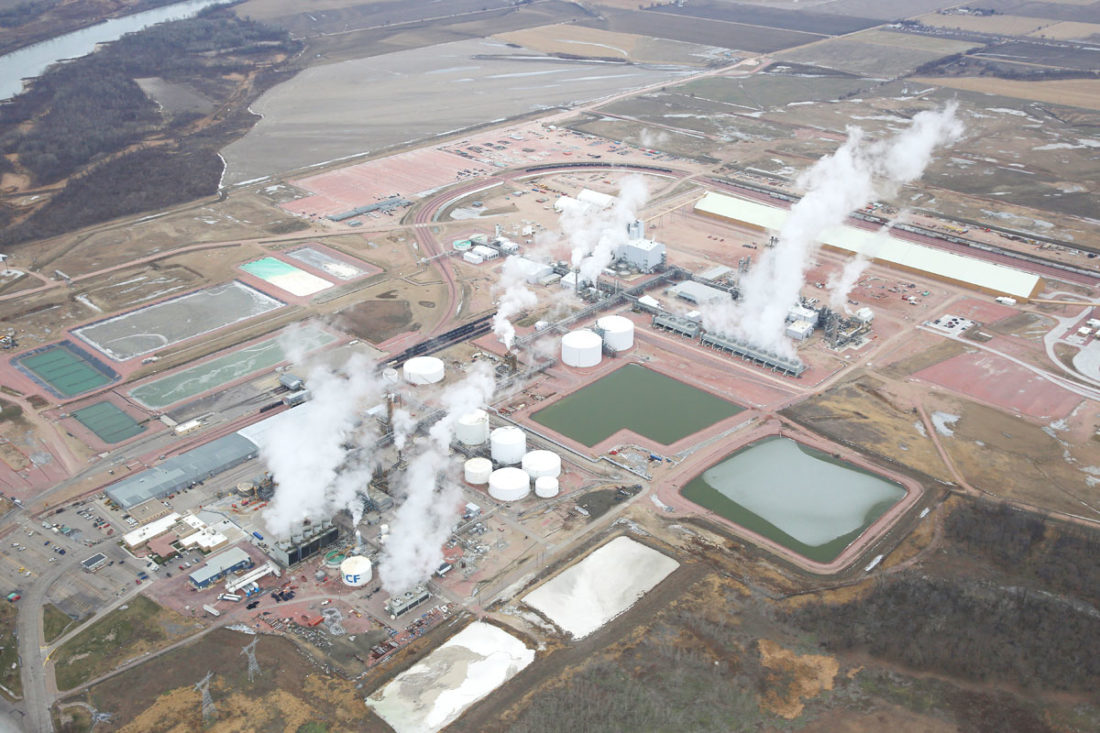 -Submitted photo  Steam rises from nitrogen fertilizer manufacturing plants at CF Industries' Port Neal complex. Facilities included in the expansion are in the upper right half of this photo.