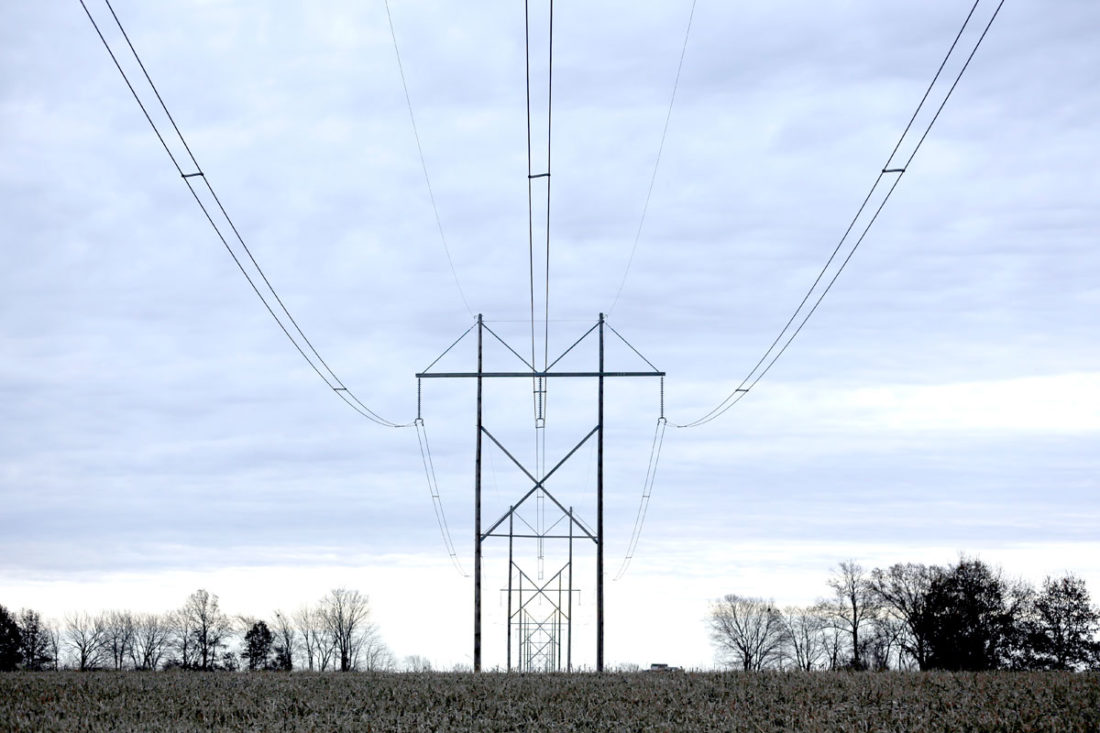 -File photo  Transmission lines like these would have been erected across 16 Iowa counties, including seven in the Farm News coverage area, and three in The Messenger's coverage area, but the Rock Island Clean Lines application for utility franchise in Iowa has been withdrawn, at least for now.