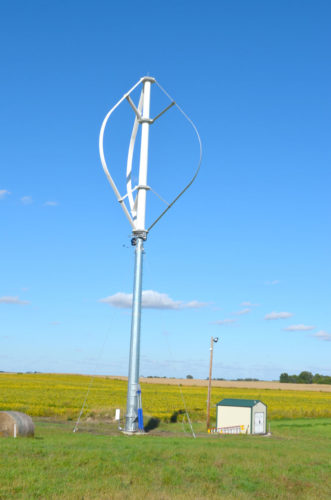 -File photo  This new wind turbine was installed in September 2016 on the Iowa Lakes Community College farm, west of Emmetsburg. The turbine is designed to provide all of the farm's electrical needs with excess going to the grid.