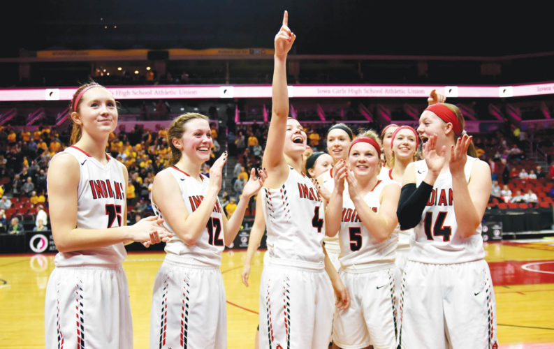 -Messenger photo by Britt Kudla Pocahontas Area celebrates after defeating Clear Lake 46-22 during Class 3A Quarterfinals on Tuesday inside Wells Fargo Arena