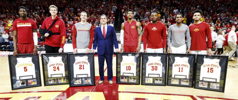 AP Photo  Iowa State head coach Steve Prohm, center, stands with seniors (left to right) Merrill Holden, Stuart Nezlek, Matt Thomas, Darrell Bowie, Deonte Burton, Monte Morris and Naz Mitrou-Long on Tuesday night in Ames.