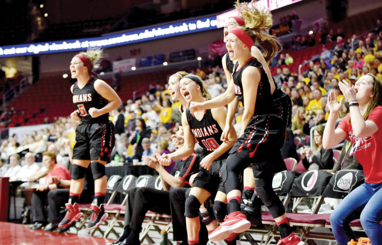 -Messenger photo by Britt Kudla Pocahontas Area celebrates after beating Center Point-Urbana 80-59 during class 3A semi-finals on Thursday inside Wells Fargo Arena