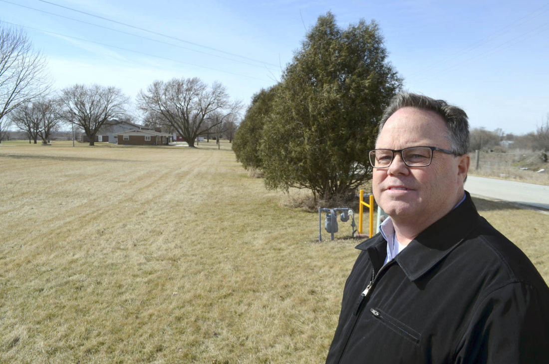 -Messenger photo by Joe Sutter  Kevin Black talks about empty lots in Gowrie ready for new houses to be built, like this one near the golf course. Black has spearheaded a projet by the Gowrie Development Commission to help the city of Gowrie offer TIF grants to new home builders.