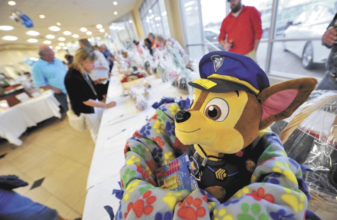 "-Messenger photo by Hans Madsen This friendly PAW Patrol dog made himself at home in the silent auction basket donated by the Webster County Attorney's Office for the 2016 ""Bets for Pets"" Fur Ball fundraiser for the Almost Home Humane Society of North Central Iowa  at Fort Dodge Ford Toyota. The event, sponsored by Nestle Purina PetCare, raises funds for the Almost Home shelter in Fort Dodge. The evening also featured a live auction, bingo, casino games and appetizers."