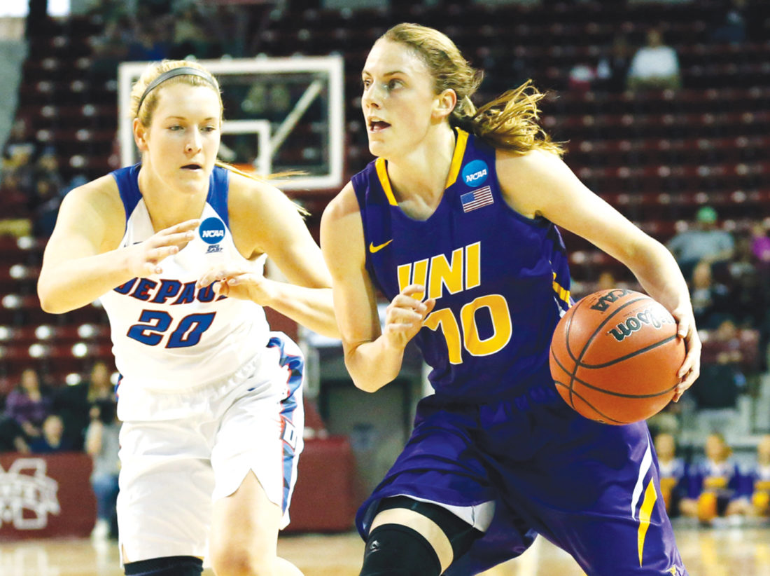 Northern Iowa guard Ellie Herzberg (10) dribbles past DePaul forward Kelly Campbell (20) during the first half of a first-round game in the women's NCAA college basketball tournament in Starkville, Miss., Friday, March 17, 2017. (AP Photo/Rogelio V. Solis)