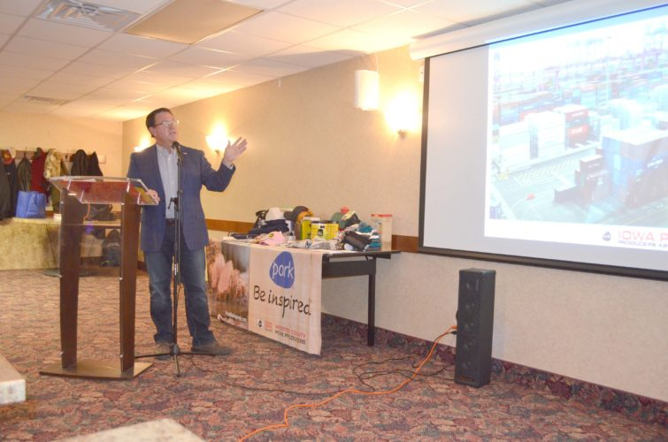 -Messenger photo by Kriss Nelson Gregg Hora, president of the Webster County Pork Producers, gave a presentation Monday night on his pork trade mission trip to South Korea during the county's annual banquet.