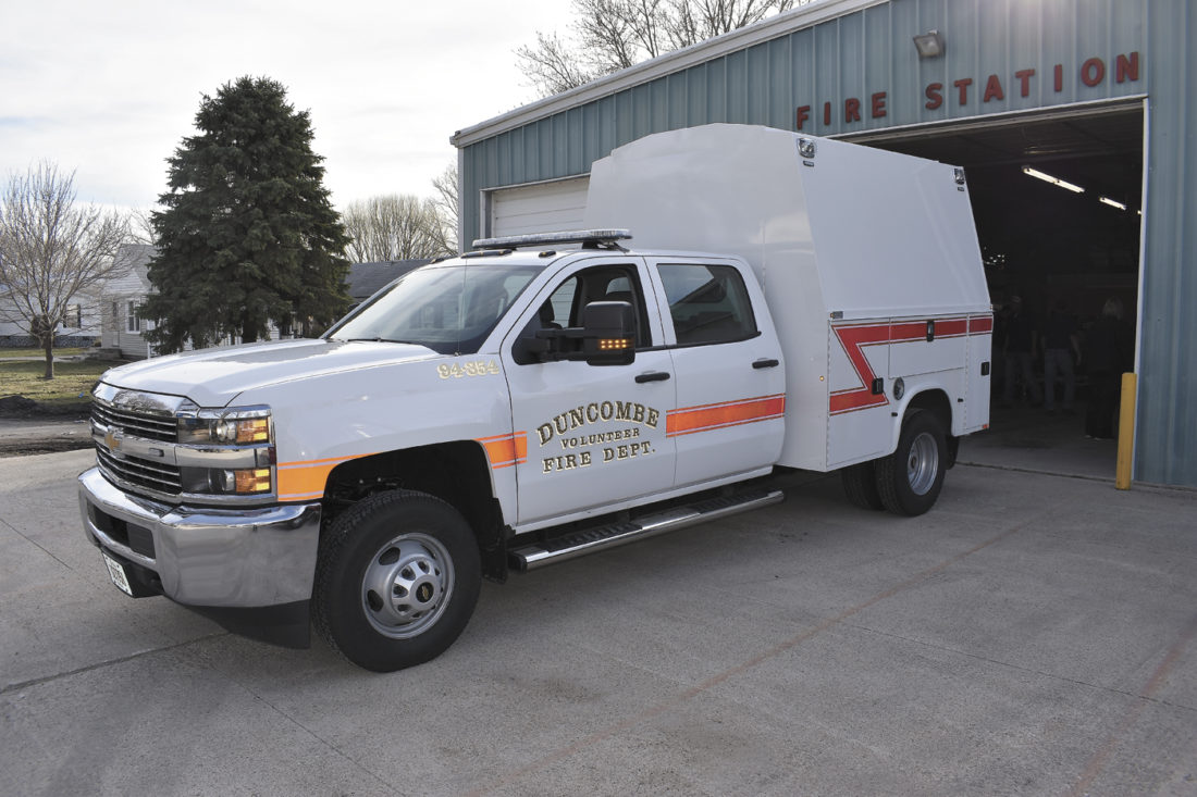 -Messenger photo by Chad Thompson  A new 2017 Chevrolet Silverado allows the Duncombe Volunteer Fire Department to haul more firefighters on calls.
