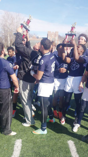 Submitted photo  The Iowa Central rugby team celebrates together last weekend.