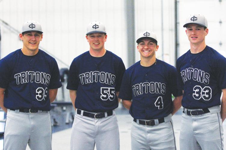 —Photo by Paul DeCoursey  Area players for the Iowa Central baseball team are, left to right, Landon Hughett, CodyKapka, Austin Halligan, Max Bodholdt.