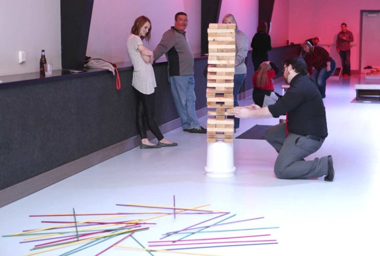 -Photo courtesy of Kyle Bartlett Participants play a game of Jumbo Jenga during the 2016 Go Big, Go Dodgers event held at Fort Frenzy.