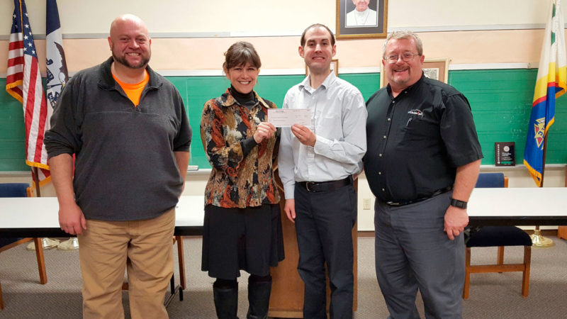Members of Fort Dodge Knights of Columbus Council 613 present a check for $6,026.67 to Lifeworks Executive Director Teresa Naughton. The money was raised during the most recent Tootsie Roll Drive. Pictured from left are Thomas Colsch, assistant grand knight; Naughton; Tony Schulte grand knight; and Brian Decklau, financial secretary and chairman for the dampaign.