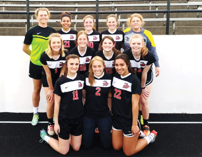 Messenger photo by Chris Johnson  Returning letterwinners for the Fort Dodge girls soccer team include, front row (left to right): Kenzie Fuller, Olivia Camamo and Raeya Love. Middle: Iris Peimann, Molly Hartman, Mara Crimmins and Hannah Amhof. Back: Liza Van Zyl, Justice Crooks, Meagan Hartman, Brook Erickson and Leah Thompson. Not pictured: Hannah Huss, Kacee Gollob and Kaylee Clow.