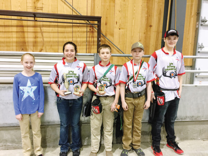 Submitted photo  Junior Olympic archers representing the Iowa Outdoors Store JOAD program included (left to right): Lydia Vandeer, Klaire Adams, Keaton Hepperle, Adam Lacina and Ayedden Miller.