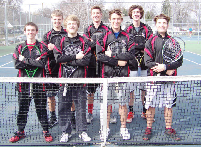 Messenger photo by Eric Pratt  Returning letterwinners for the Fort Dodge boys tennis team include, front row (left to right): Justin Vaughan, Adam Moore, Mitchell Emery and Tristan Earnest. Back: Jonny Bowser, Chris Hatton and Ryan Dolan.