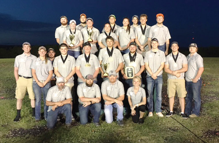 Submitted photo  The Iowa Central sports shooting team poses with all of its awards in San Antonio on Sunday.