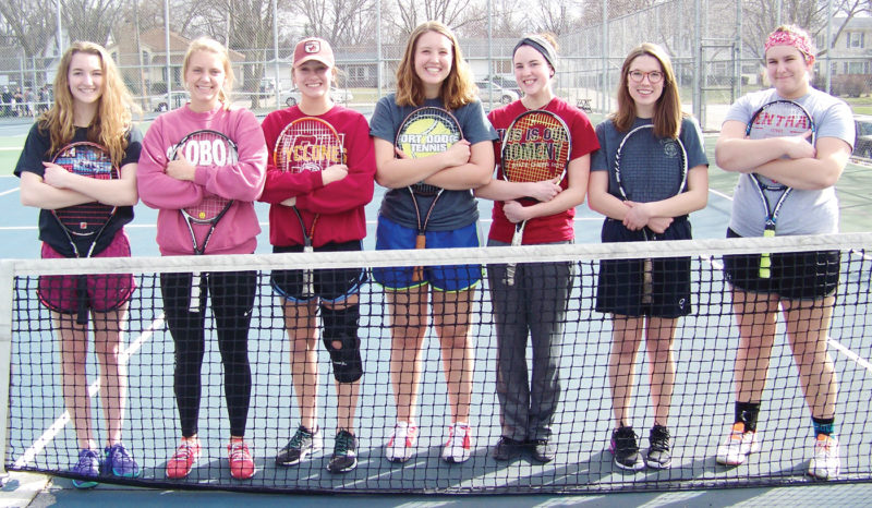Messenger photo by Eric Pratt  Returning letterwinners for the Fort Dodge girls tennis team include, front row (left to right): Gretta Leigh, Beth Murman, Alexis Erickson, Cate Hatton, Brooke Helmick, Anna Bruen and Noelle Barber.