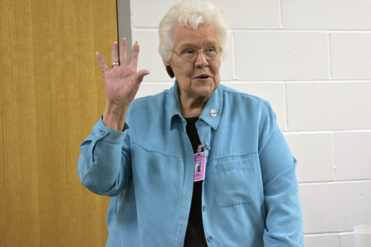 -Messenger photo by Chad Thompson  Joan Johanson has been volunteering at the Toastmasters Club at the Fort Dodge Correctional Facility for three years.
