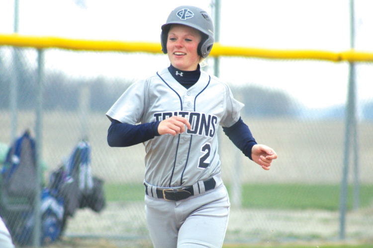 —Photo by Kirk Hardcastle  Fort Dodge graduate Molly Matthes scores a run for Iowa Central after hitting a home run against NIACC in Mason City.