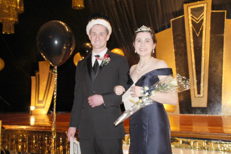 """Matt Bennett, son of Dan and Angie Bennett, and Teresa Touney, daughter of Ed and Hiedi Touney, were crowned as the king and queen of the St. Edmond Prom . The theme for this year's prom was """"Putting on the Ritz"""" with the theme carried out in the decorating for the night."""