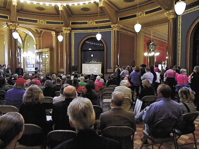 -Messenger photo by  Kristin Danley-Greiner  Farmers spoke out against the proposed elimination of the Leopold Center for Sustainable Agriculture at a hearing Monday.