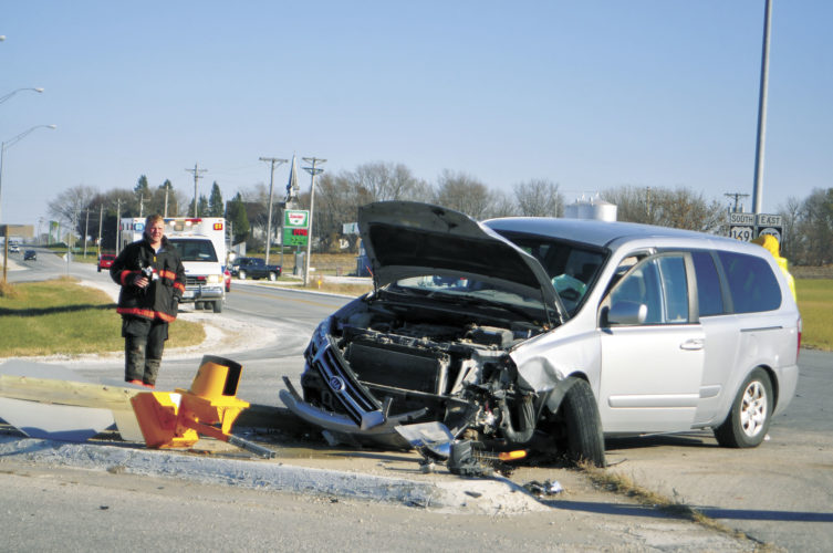 -Messenger file photo Crashes such as this one involving a Kia Sedona van and a Chevrolet Impala at the intersection of U.S. Highway 169 and Iowa Highway 175 that occurred in November 2016 have contributed to the Iowa Department of Transportation's plans to install a four-way stop at the intersection. The four-way stop is to be installed Tuesday. One person suffered minor injuries in this crash.