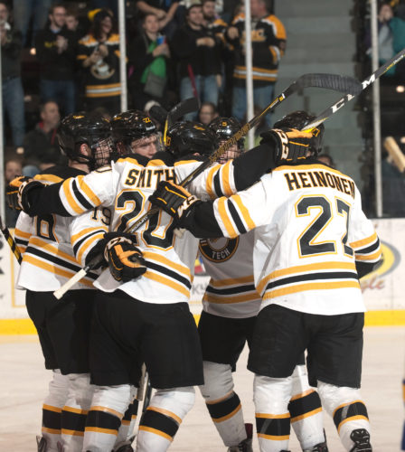 David Archambeau/Daily Mining Gazette Michigan Tech celebrates a goal against Lake Superior State at the MacInnes Student Ice Arena on Nov. 12.