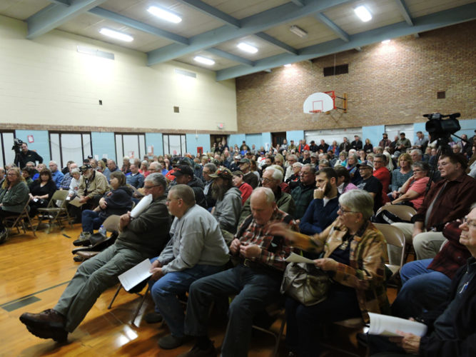 Graham Jaehnig/Daily Mining Gazette More than 200 people turned out Wednesday for a special meeting of the Keweenaw Mountain Lodge Board to discuss whether the the Keweenaw County Board should loan $200,000 in taxpayer funds to the lodge so it can re-open in the spring.