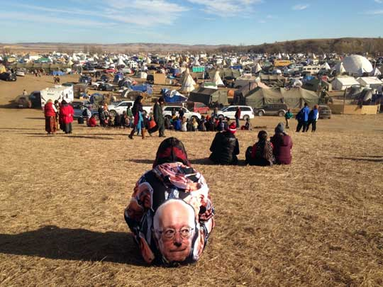 Protesters gather at an encampment on Saturday, Nov. 26, 2016, a day after tribal leaders received a letter from the U.S. Army Corps of Engineers that told them the federal land would be closed to the public on Dec. 5, near Cannon Ball, N.D.