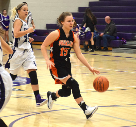 Daver Karnosky/Daily Mining Gazette Houghton's Madison Dillinger drives the ball down the court during the third quarter of a game against L'Anse, at L'Anse Gym Tuesday.
