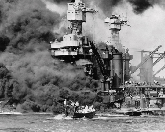 U.S. Navy via AP, File In this Dec. 7, 1941, photo made available by the U.S. Navy, a small boat rescues a seaman from the USS West Virginia burning in the foreground in Pearl Harbor, Hawaii, after Japanese aircraft attacked the military installation. A few dozen survivors of the Japanese attack on Pearl Harbor planned to gather in Hawaii, Wednesday, Dec. 7, to remember those killed 75 years ago.